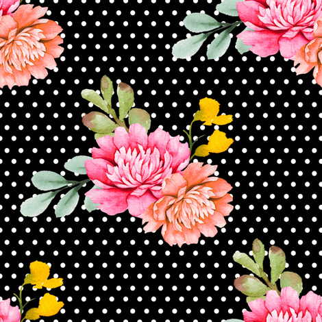 "8"" Valladolid Flowers - Black with White Polka Dots fabric by shopcabin on Spoonflower - custom fabric"