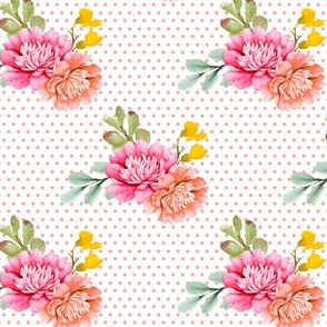 "4"" Valladolid Flowers - Peach Polka Dots"