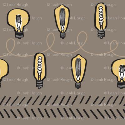 Fun Lines, Hand-Drawn Edison Bulbs with Tan BG