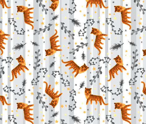 Tossed Tigers fabric by hollybender on Spoonflower - custom fabric