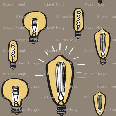 Hand-Drawn Vintage Bulbs with Tan BG