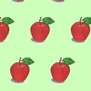 Red Apple on a Mint Field