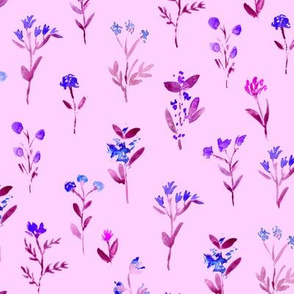 Pretty blue meadow flowers on pink || watercolor floral pattern