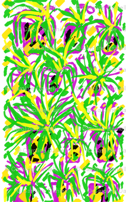 Crazy Pots 1  in Green Yellow Pink & White