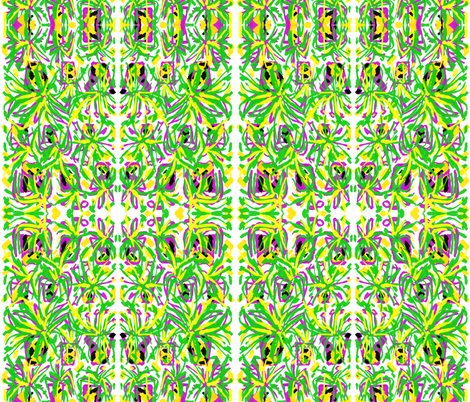 Crazy Pots 1  in Green Yellow Pink & White fabric by tabasamu_design on Spoonflower - custom fabric
