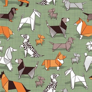 Origami doggie friends // small scale // sage green linen texture background paper Chihuahuas Dachshunds Corgis Beagles German Shepherds Collies Poodles Terriers Dalmatians