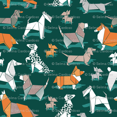 Origami doggie friends // small scale // green background paper Chihuahuas Dachshunds Corgis Beagles German Shepherds Collies Poodles Terriers Dalmatians