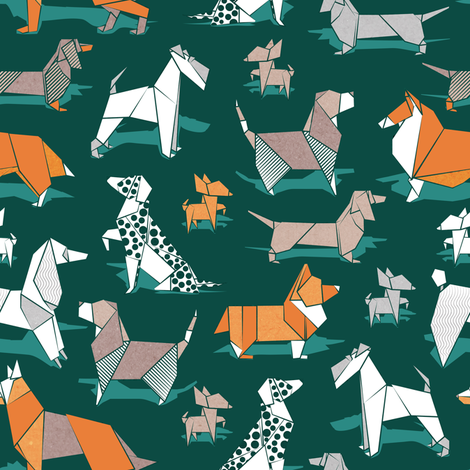 Origami doggie friends // small scale // green background paper Chihuahuas Dachshunds Corgis Beagles German Shepherds Collies Poodles Terriers Dalmatians  fabric by selmacardoso on Spoonflower - custom fabric
