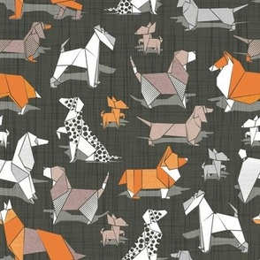 Small scale // Origami doggie friends // brown linen texture background paper Chihuahuas Dachshunds Corgis Beagles German Shepherds Collies Poodles Terriers Dalmatians