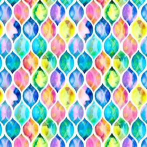 Extra small Radiant Rainbow Watercolor Ogee Pattern