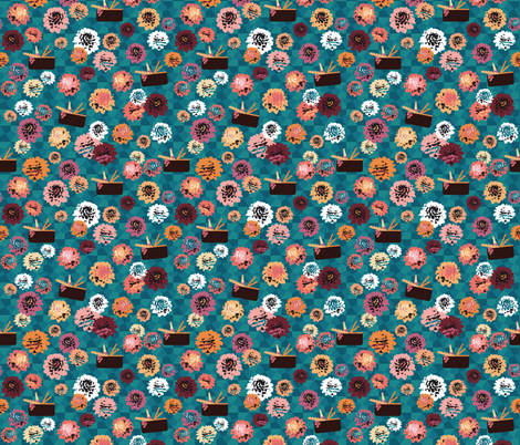 dahlia garden picnic small fabric by colorofmagic on Spoonflower - custom fabric