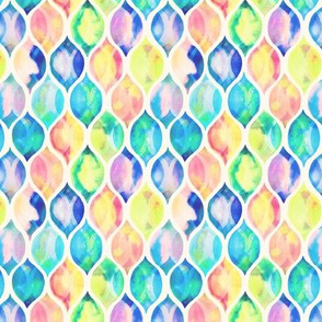 Extra small Faded Vintage Watercolor Ogee Pattern
