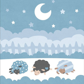 "Sleepy Sheep Blankets 13.5""x18"" Blue"