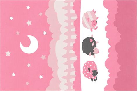 "Sleepy Sheep Blankets 18""x27"" Pink fabric by hollybender on Spoonflower - custom fabric"