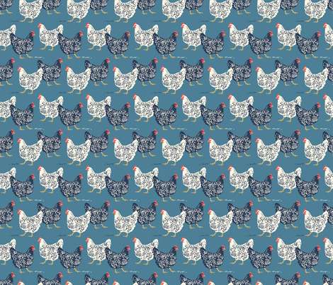 farmhouse chickens small-01 fabric by laura_may_designs on Spoonflower - custom fabric