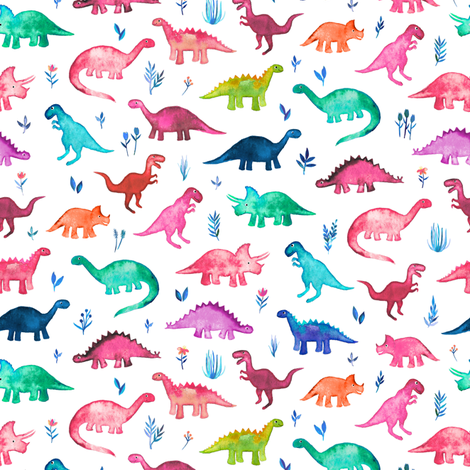 Tiny Multicolored Dinos on White fabric by micklyn on Spoonflower - custom fabric