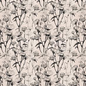 white black flower seamless pattern ink graphic element 002