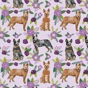 australian cattle dog (smaller) pet quilt c cheater quilt florals coordinate fabric
