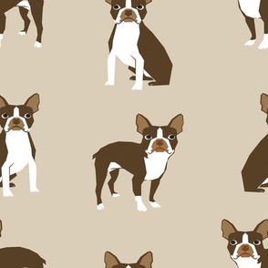brown boston terrier dog fabric - dog  fabric