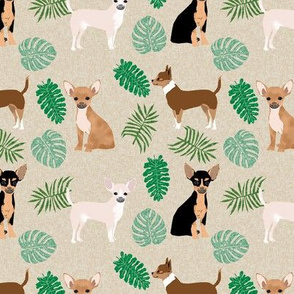 chihuahua monstera leaves tropical dog breed fabric tan