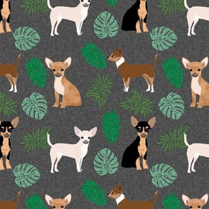 chihuahua monstera leaves tropical dog breed fabric dark