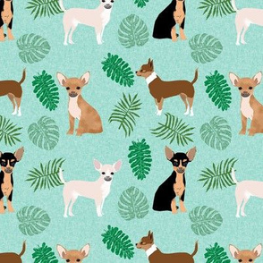 chihuahua monstera leaves tropical dog breed fabric green