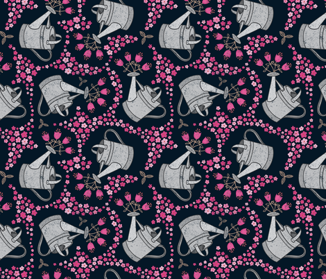 Watering the Posies fabric by thewellingtonboot on Spoonflower - custom fabric