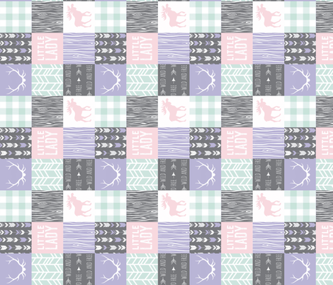 """2"""" Little Lady Quilt - lilac,  mint and pink fabric by sugarpinedesign on Spoonflower - custom fabric"""