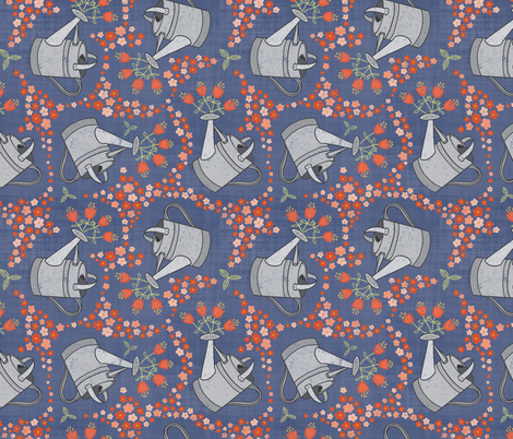 Watering the Flowers fabric by thewellingtonboot on Spoonflower - custom fabric
