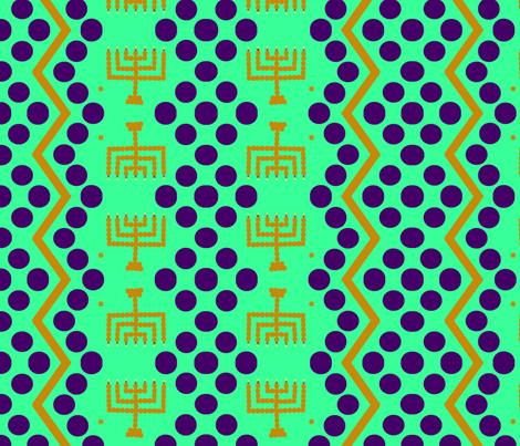 menorah green  fabric by ahuva_israel on Spoonflower - custom fabric