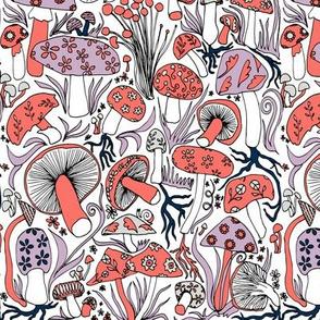 Mushrooms, Mushrooms, Mushrooms (Coral and Navy)