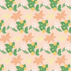 Jungle Florals (Peach) - flower tropical tropic summer spring bouquet garden jungle