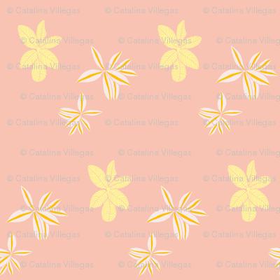 Jungle Florals (Peach and Yellow) - floral flower bouquet garden rainforest summer spring tropic pretty mom wedding bridesmaid