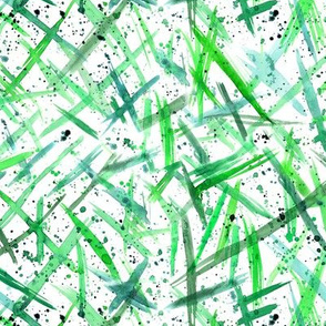 Geometry of mess in green || paint brushstrokes and splatters