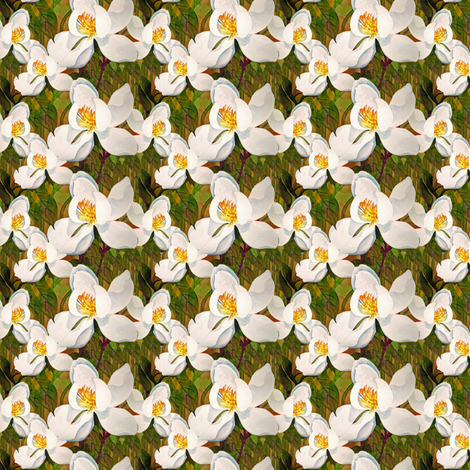 Small spring magnolias fabric by helen@klebesadel_com on Spoonflower - custom fabric