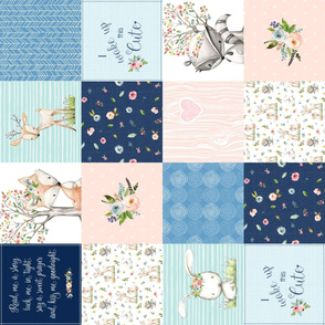 Woodland Friends Nursery Patchwork Quilt (rotated)- I Woke Up This Cute Wholecloth Deer Fox Raccoon Bunny (Navy Pink) GingerLous