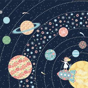 Nomi & Brave Travel the Universe - 18x21 fat quarter panel