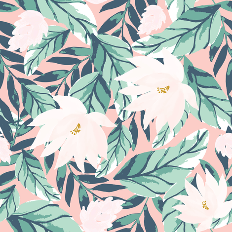 IBD-Floral-tropic-White-florals-B fabric by indybloomdesign on Spoonflower - custom fabric