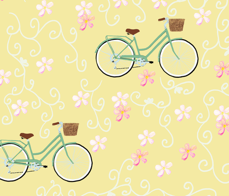 Blooming-Bicycles fabric by kathleenbruceillustration on Spoonflower - custom fabric