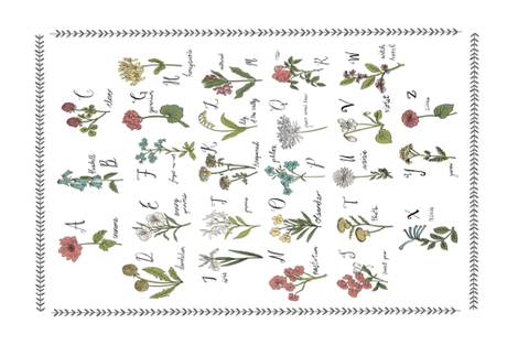 abc wildflowers tea towel linen cotton canvas nature floral fabric by andrea_lauren on Spoonflower - custom fabric