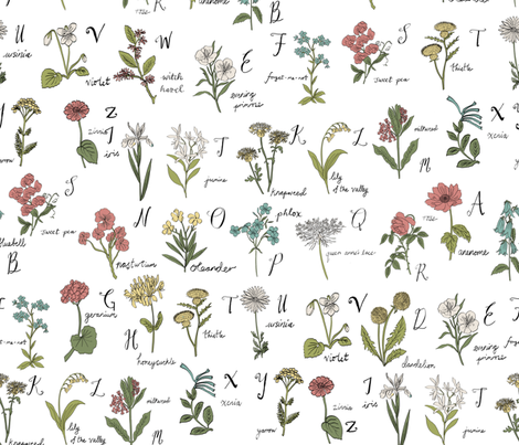 abc wildflowers botanical floral  fabric by andrea_lauren on Spoonflower - custom fabric