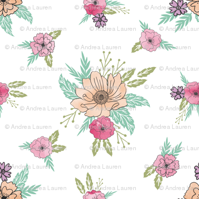 wildflower scattered botanical nature fabric