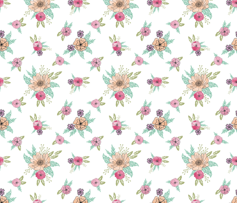 wildflower scattered botanical nature fabric  fabric by andrea_lauren on Spoonflower - custom fabric