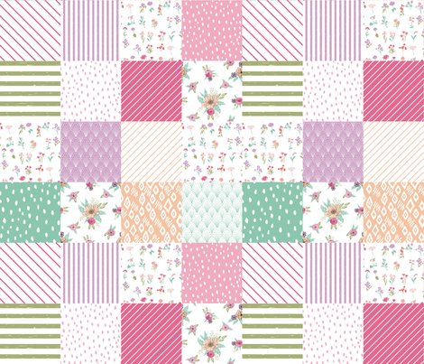 wildflower wholecloth cheater quilt botanical nursery fabric by andrea_lauren on Spoonflower - custom fabric