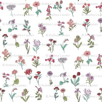 wildflowers nature botanical flower fabric colors