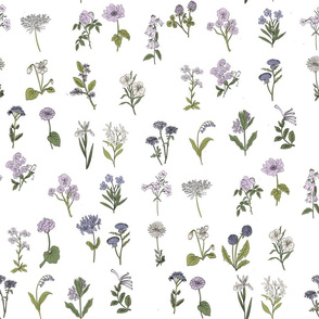 wildflowers nature botanical flower fabric purple