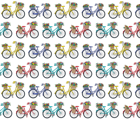 bouquet bicycles white fabric by andibird on Spoonflower - custom fabric