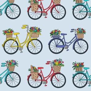 bouquet bicycles blue