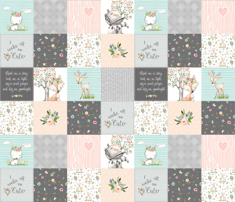 Woodland Friends Nursery Patchwork Quilt - I Woke Up This Cute Wholecloth Deer Fox Raccoon Bunny (Grey Blush) GingerLous fabric by gingerlous on Spoonflower - custom fabric