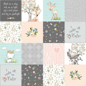 Woodland Friends Nursery Patchwork Quilt - I Woke Up This Cute Wholecloth Deer Fox Raccoon Bunny (Grey Blush) GingerLous